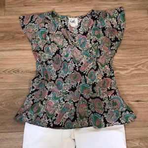 Anthropologie 100% silk mermaid v-neck blo…